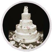 Wedding Cake Petals Round Beach Towel