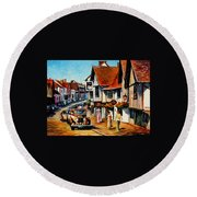 Wedding Day In Lavenham - Suffolk England Round Beach Towel