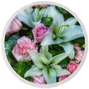 Wedding Flowers Round Beach Towel