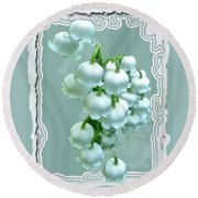 Wedding Happiness Greeting Card - Lily Of The Valley Flowers Round Beach Towel