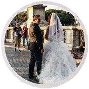 Wedding Stroll On The Ponte Sant'angelo Round Beach Towel