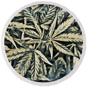 Weed Abstracts Four Round Beach Towel