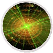 Weed Art Green And Golden Light Beams Round Beach Towel
