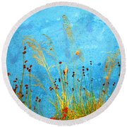 Weeds And Water Round Beach Towel