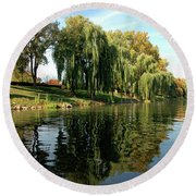 Weepin Willows Frankenmuth Cass River Round Beach Towel