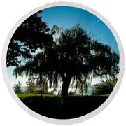 Weeping Willow Silhouette Round Beach Towel