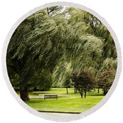 Weeping Willow Trees On Windy Day Round Beach Towel