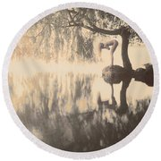 Weeping Willow Woman Round Beach Towel