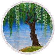 Weeping Willows Round Beach Towel