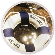 Welcome Aboard Nautical Paradise Round Beach Towel