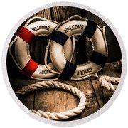 Welcome Aboard The Dark Cruise Line Round Beach Towel
