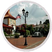 Welcome Center At Frankenmuth Round Beach Towel
