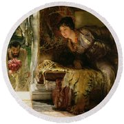 Welcome Footsteps Round Beach Towel by Sir Lawrence Alma-Tadema