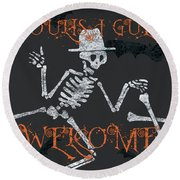 Welcome Ghoulish Guests Round Beach Towel