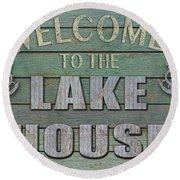 Welcome Lake House Round Beach Towel