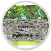 Welcome Sign Fort Sill Round Beach Towel by Betsy Hackett