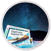 Welcome Sign To Death Valley National Park California At Night Round Beach Towel