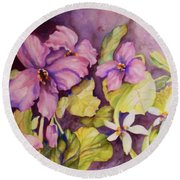 Welcome Spring Violets Round Beach Towel