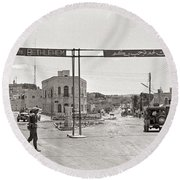 Welcome To Bethlehem Round Beach Towel