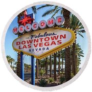 R.i.p. Welcome To Downtown Las Vegas Sign Day Round Beach Towel