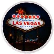 Welcome To Las Vegas Round Beach Towel by Steve Gadomski