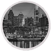 Welcome To Penn's Landing Bw Round Beach Towel