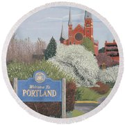 Welcome To Portland Round Beach Towel