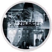 Welcome To Salzburg Round Beach Towel by Dave Bowman