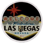 Welcome To Vegas Knights Sign Digital Drawing Round Beach Towel