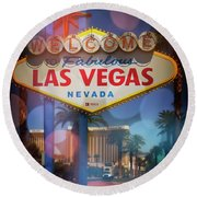 Welcome To Vegas Xii Round Beach Towel