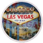 Welcome To Vegas Xiii Round Beach Towel