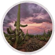 Well Armed At Dusk Round Beach Towel