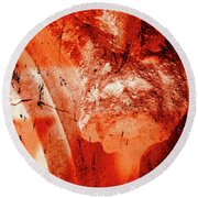 Wells Cathedral Gargoyles Color Negative B Round Beach Towel