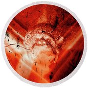 Wells Cathedral Gargoyles Color Negative D Round Beach Towel