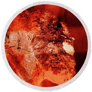 Wells Cathedral Gargoyles Color Negative E Round Beach Towel
