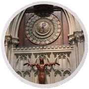 Wells Cathedral Geocentric Clock Round Beach Towel