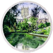 Wells Cathedral Round Beach Towel