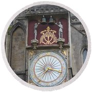 Wells Cathedral Outside Clock Round Beach Towel