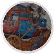 Wells Fargo Stagecoach Round Beach Towel