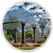 Wellspring Fountain - Council Bluffs Iowa Round Beach Towel
