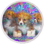 Welsh Corgi Pups Round Beach Towel
