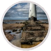 Welsh Lighthouse  Round Beach Towel