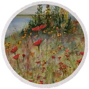 Wendy's Wildflowers Round Beach Towel