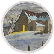 We're Home On The Farm Round Beach Towel
