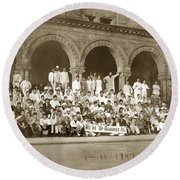 We're Up Against It,students On Steeps Of Encina Hall At Stanford University April 18,1907 Round Beach Towel