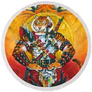 Werecat Warrior Round Beach Towel