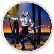 Werecat With Torch Round Beach Towel