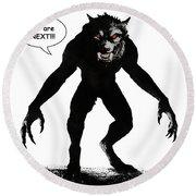 Werewolf Comic Illustration 1 Round Beach Towel