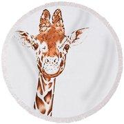 West African Giraffe Round Beach Towel