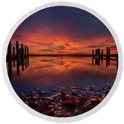 West Boat Launch Fall Sunrise Round Beach Towel